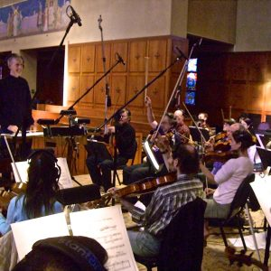 Speaking to orchestra recording The Greatest Miracle / El Gran Milagro