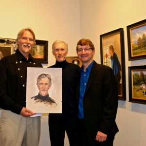 "L-R Respected New Hampshire Artist Craig Pursley, Composer Mark McKenzie, Varese Sarabande President Robert Townson.  The ""Circle of Inspiration"" art exhibit: 38 beautiful paintings inspired by Mark McKenzie's music were exhibited at the Tirage Fine Art Gallery in Pasadena, CA"