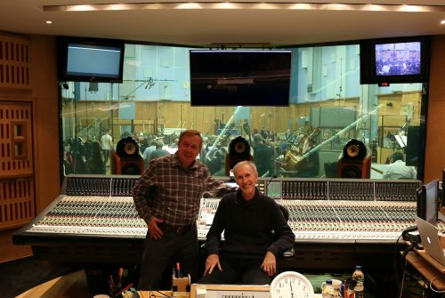 Conductor Gordon Johnson with Composer Mark McKenzie at Abbey Road Studios recording the music to MAX AND ME.