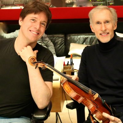 L-R Concert violinist Joshua Bell with Composer Mark McKenzie holding Joshua's Stradivarius during playbacks on the Inspiring animated film MAX AND ME - Version 6