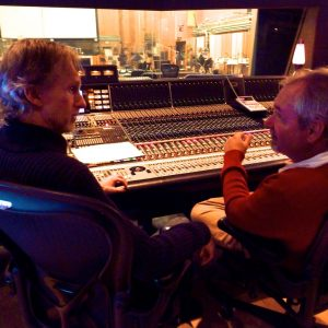 Composer Mark Mckenzie with Director Bruce Morris at 20th Century Fox Newman Scoring Stage Mixing The Greatest Miracle / El Gran Milagro which Doug wrote and directed.