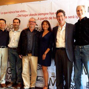 The Greatest Miracle: L-R Gregorio Núñez, Alberto Binetti Randieri, Bruce Morris, Paty Garcia-Peña, Pablo Barroso, Mark McKenzie