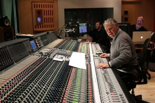 Recording Engineer Peter Cobbin with second engineer John Barrett and music editor Marc Perlman at Abbey Road Studios