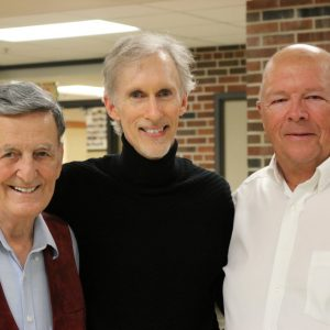 Mark McKenzie with high school mentors: Choral master Robert Ruberto and Arranger, Band Maestro Stephen Ritzenthaler. I thank these men on almost every soundtrack because their influence is everywhere in the music. Photo by Daniel Sanchez