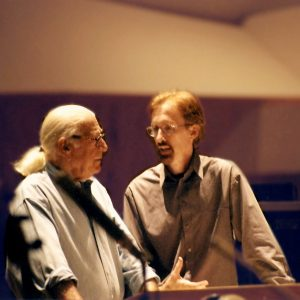 "Legendary Composer Jerry Goldsmith discussing the music to ""THE LAST CASTLE"" on the famed CBS Radford Todd AO Recording stage.  Mark McKenzie Composed the climactic 7 minute action sequence in this film called ""Prison Uprising."" (photo by Rick Baptist)"