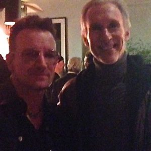 "As a member of the Motion Picture Academy Composers Branch at a Harvey Weinstein Oscar party, I thanked U2's Bono for his international philanthropic work. Bono got very serious, grabed both arms, looked me in the eyes sincerely and said: ""Thank you, that means a lot to me."" I admire this man's artistry and humanity."